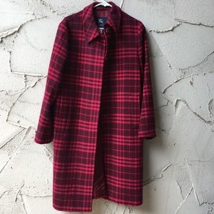 Burberry Red Plaid Wool Cashmere Blend Coat